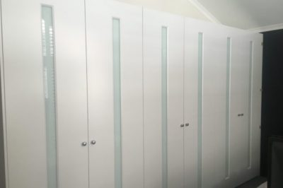 Hinged White Glass Custom Decor with White Glass Polyurethane Painted Doors - 6 door combination
