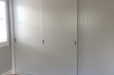 Sliding V Groove with Border Polyurethane Painted Doors - 3 door combination