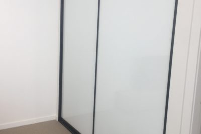Sliding supa white doors with black aluminium frame - 2 door combination