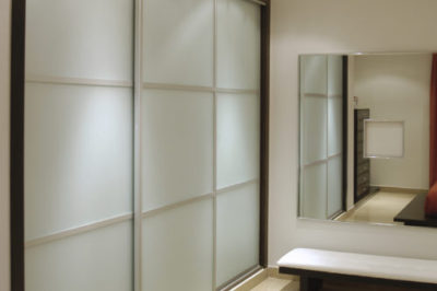 White Glass with Matt Silver Glazing Strips - 3 door combination