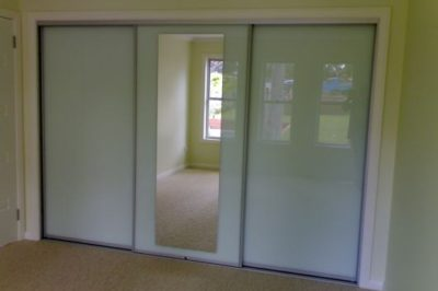 White Glass and White Glass with Mirror Insert and Matt Silver Frame - 3 door combination