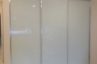 White Glass with Polished Silver Frame - 3 door combination