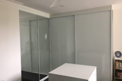 Sliding Supa White Glass and Mirror Doors with White Frame