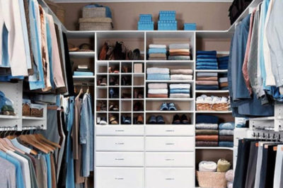 Colour coordinate your walk in wardrobe to create storage heaven