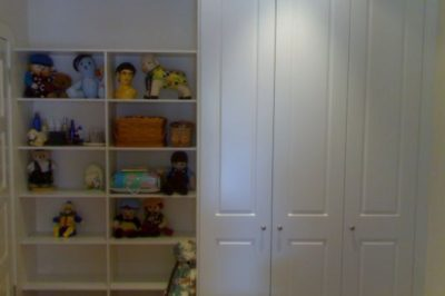 Hinged Heritage (2 Panel) Polyurethane Doors - 3 door alongside open shelves