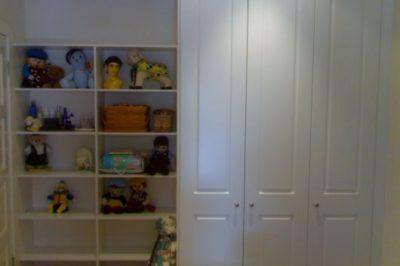 Hinged Heritage (2 Panel) Polyurethane Doors - 3 door alongside open shelves