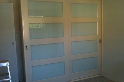 Sliding Custom White Glass Decor Polyurethane Doors - wide horizontal